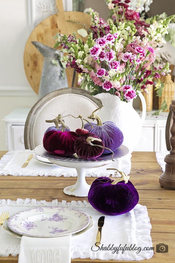 purple aubergine lavender velvet pumpkins fall