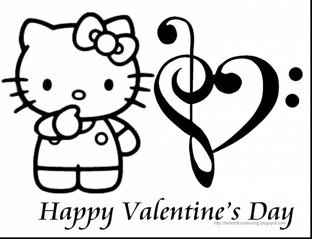 Unbelievable Hello Kitty Valentines Coloring Pages With Kitty Coloring Pages