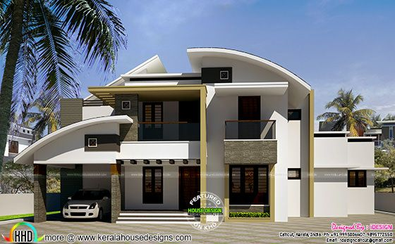 2562 sq-ft modern curved roof home