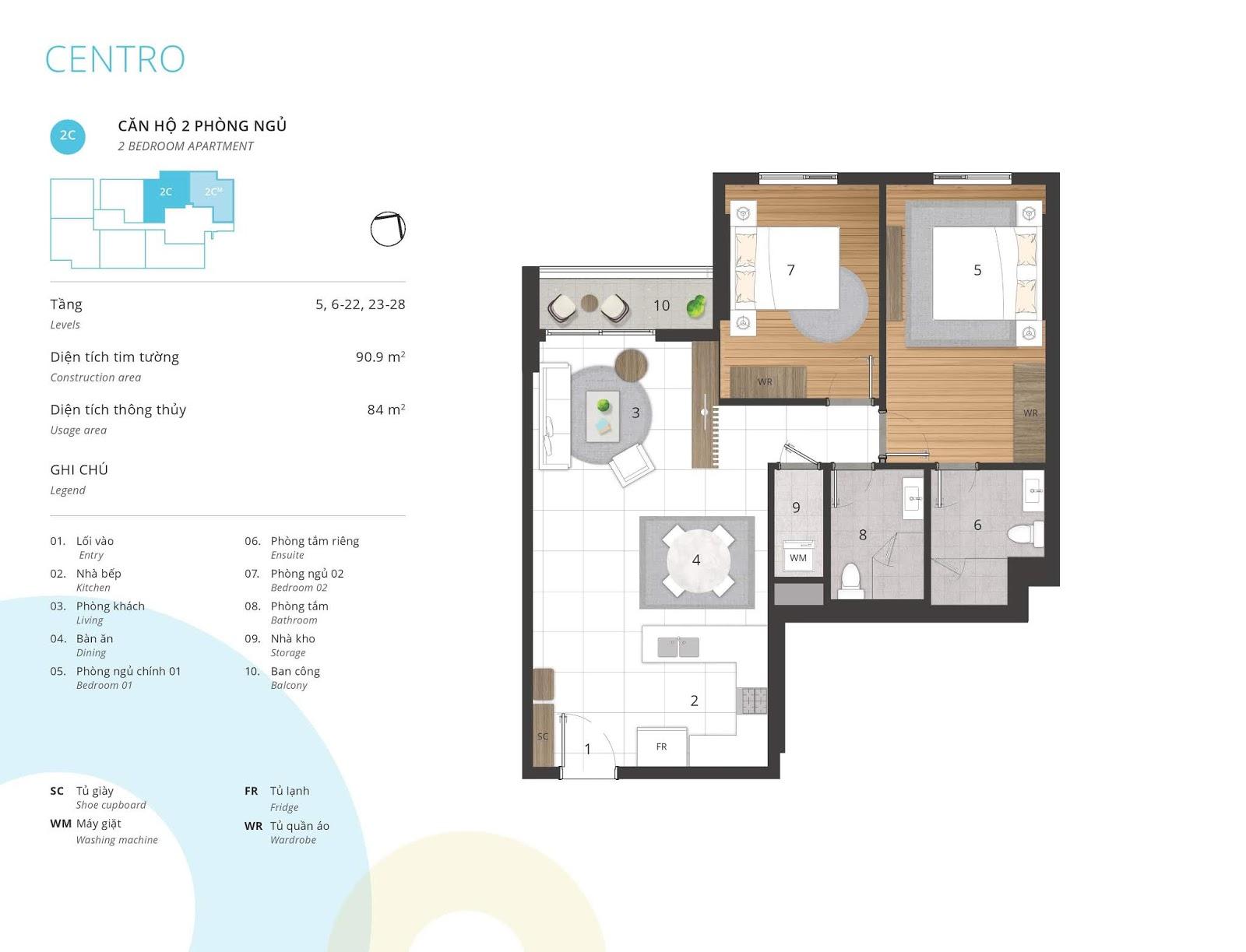 Mặt bằng căn hộ 2 phòng ngủ 80 và 84 m2 thông thủy tòa CENTRO