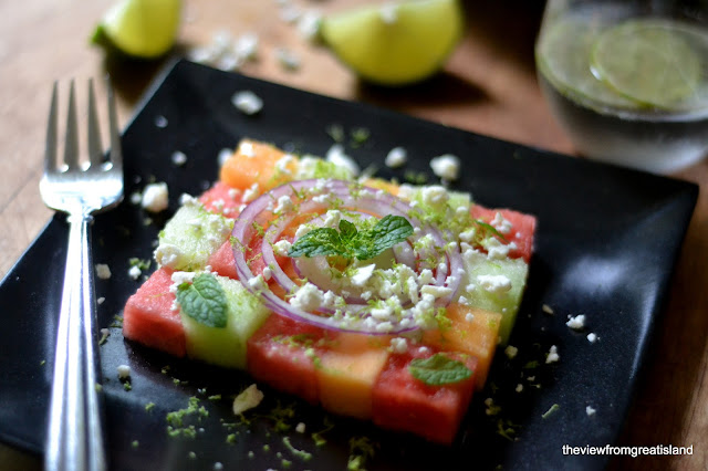 checkerboard melon salad
