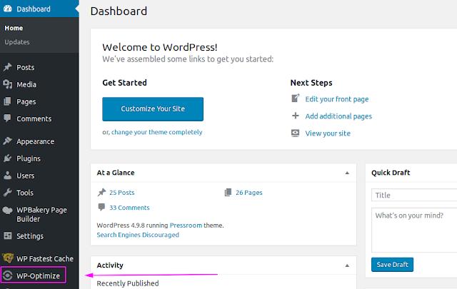 Cara Optimasi Database Website Wordpress Dengan Plugin WP Optimize