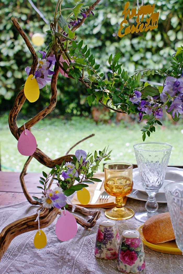 diy easter branch decoration table