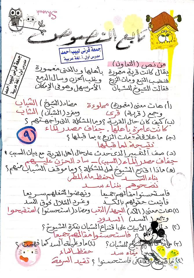 مراجعة اللغة العربية للصف الأول الاعدادي ترم ثاني أ/ جمعة قرني لبيب 10