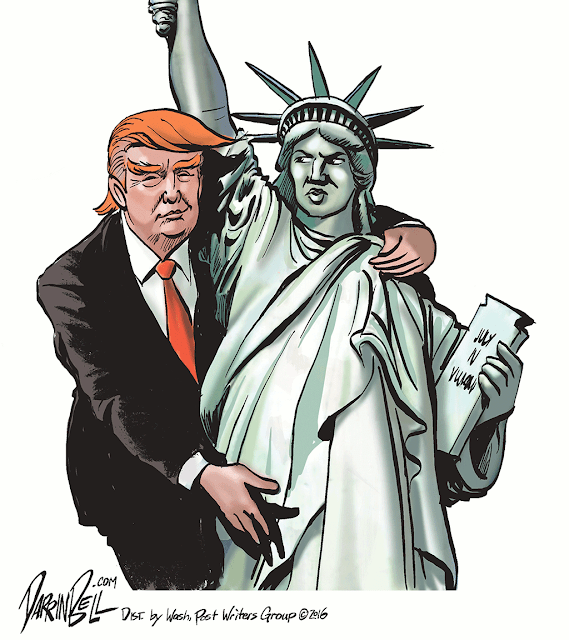Donald Trump grabbing pussy of Lady Liberty