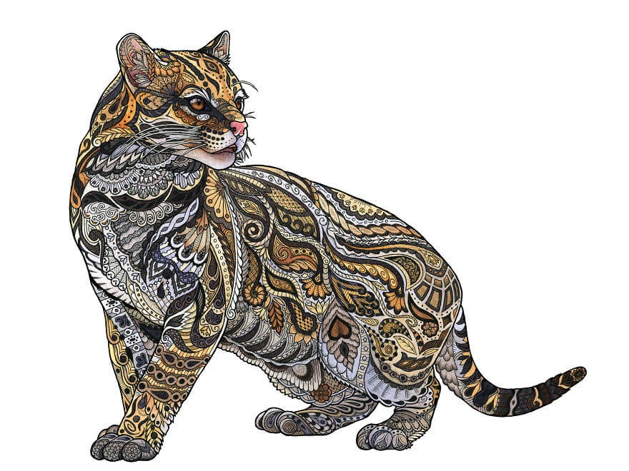 14-Ocelot-Z-H-Field-Distinctive-Animal-Drawings-and-Paintings-www-designstack-co