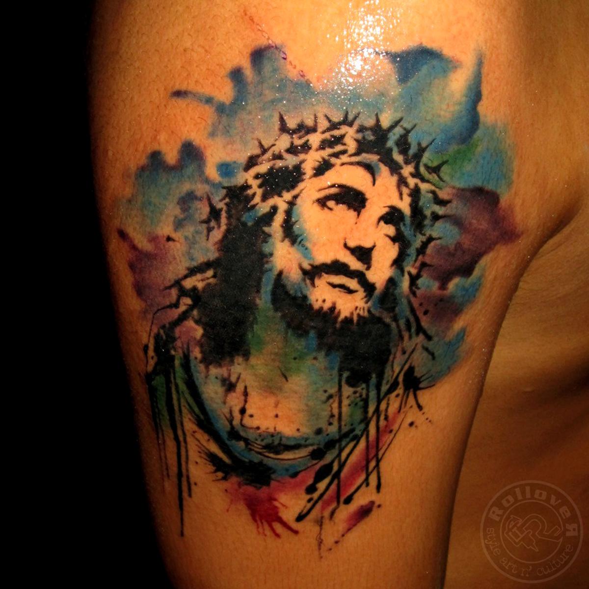 rollovertattoo Indonesia: watrcolortattoo, jesus tattoo