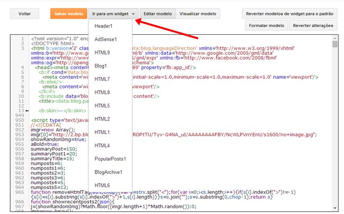 como localizar um gadget no código do blog