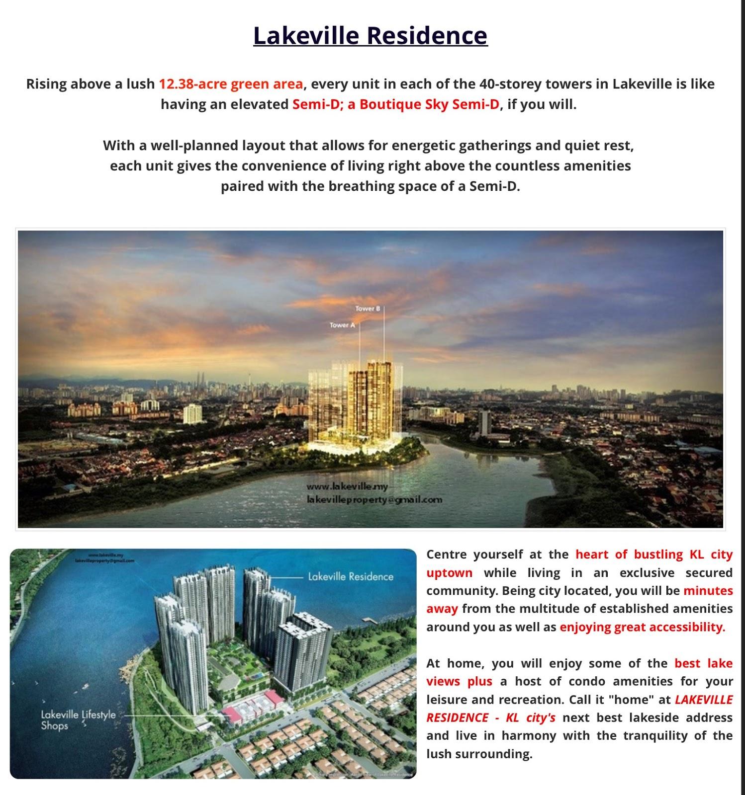 Property In KL & Selangor : For Sale: LakeVille Residence