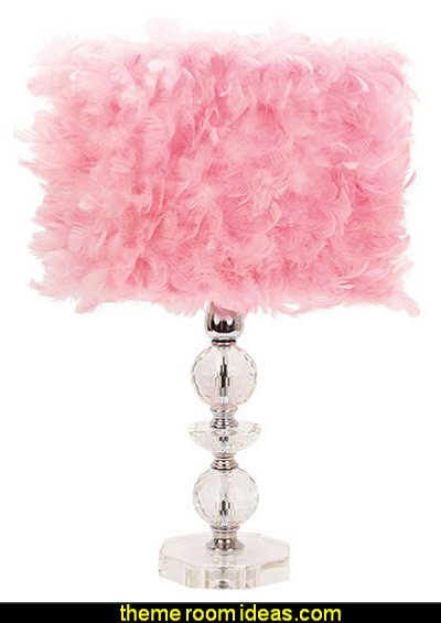 Crystal Tower Base with Pink Feathered Drum Shade  Peacock theme decorating - peacock theme decor - exotic style decorating - Peacock Decorations - Peacock Nursery - peacock wall decoration - peacock Christmas decorating - peacock color decor - peacock wallpaper - peacock bedding - life size peacock decorations - Peacock feather  - Peacock living room
