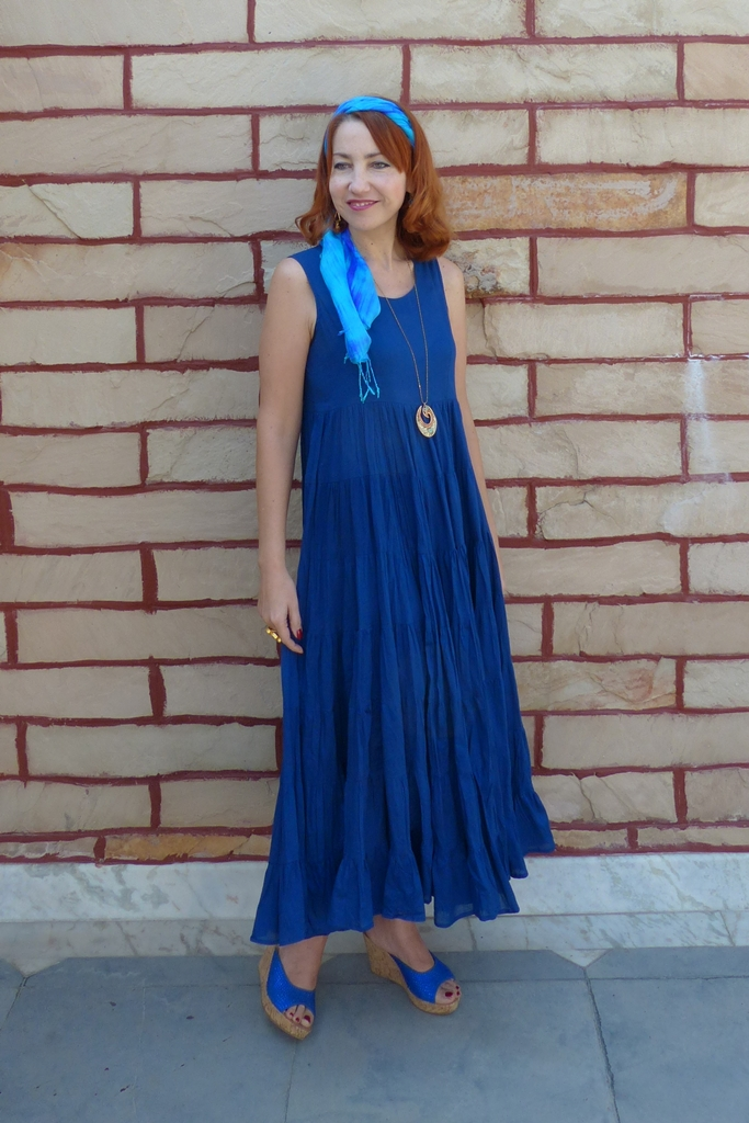 Cotton navy blue maxi dress from Biba worn with jewelry and silk headband