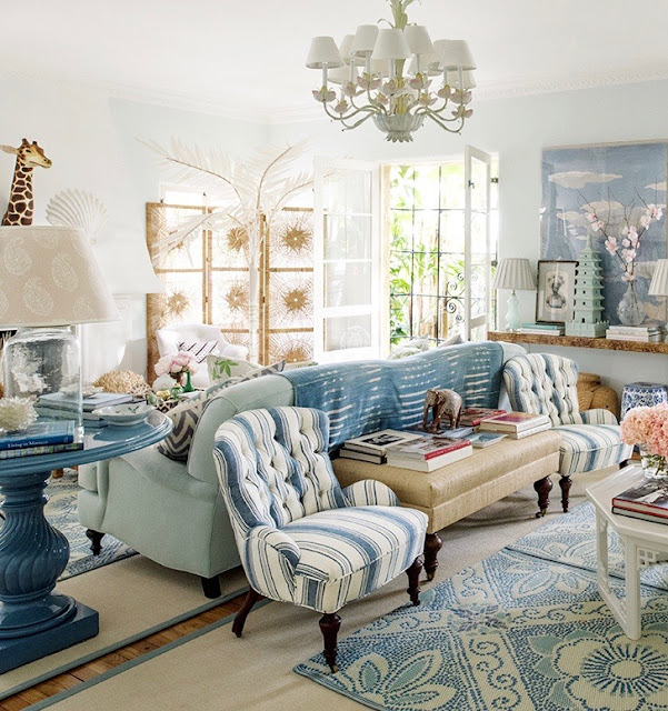 Blue and Green and White Living room by Rebecca de Ravenel {Cool Chic Style Fashion}