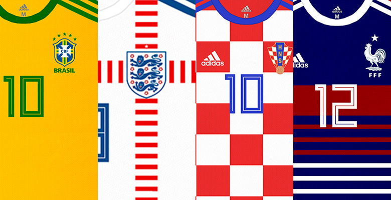eecf172a5 ... Adidas in the 2018 World Cup  The designer Bruno Bianchi imagined  Swoosh s 10 partner selections wearing uniforms signed by their main rival