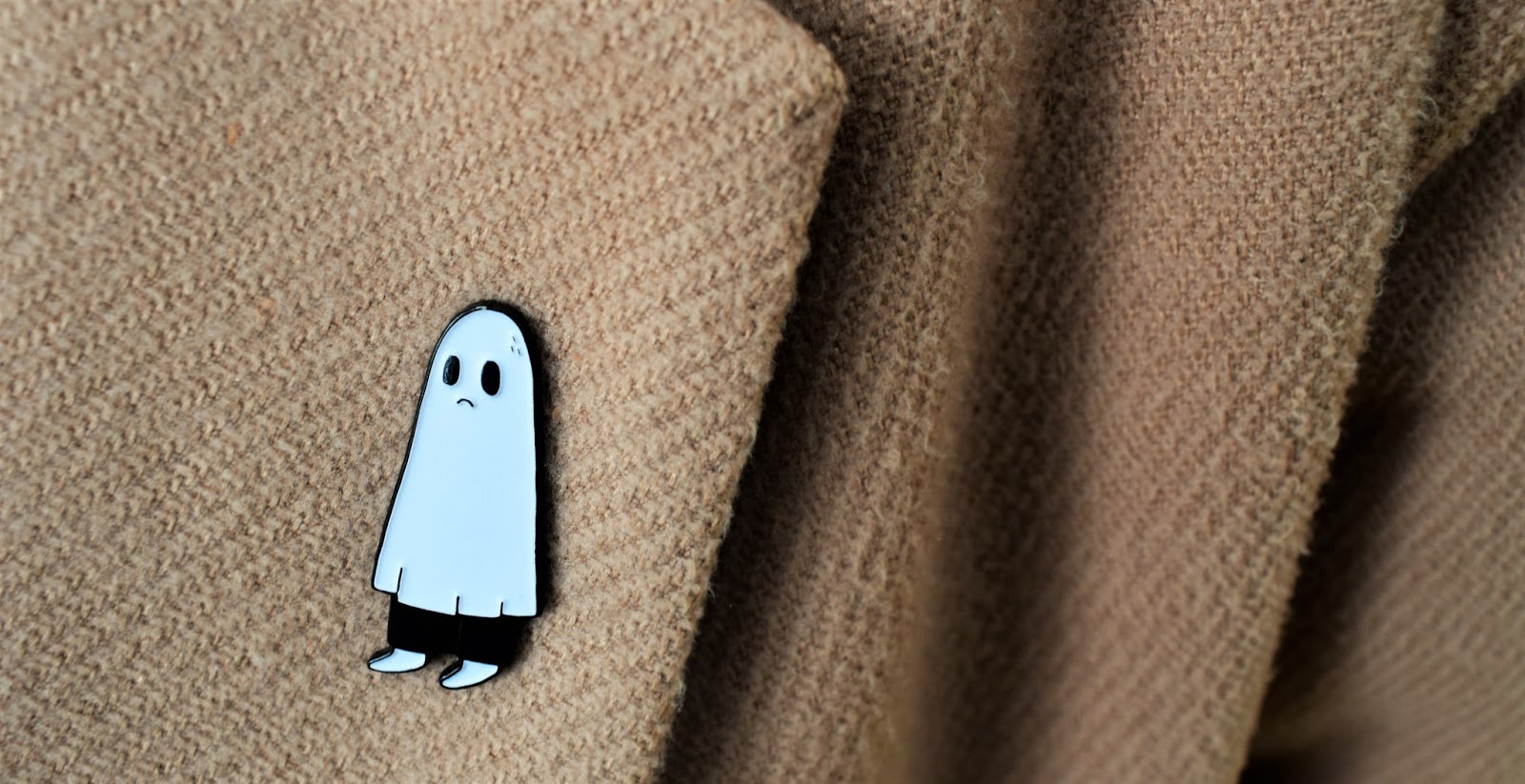 The Sad Ghost brooch, person in ghost outfit pin, pingame, enamel pin of ghost, Halloween pin