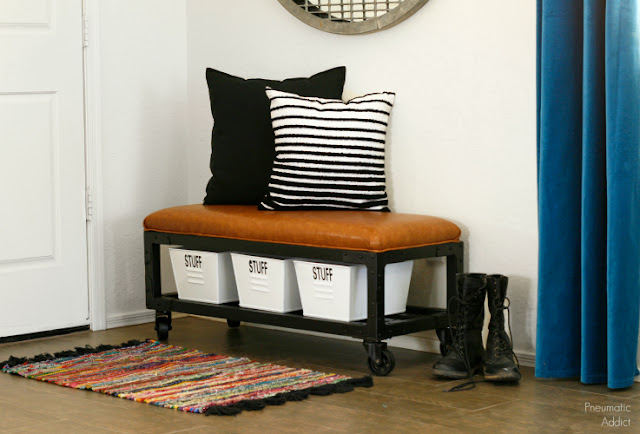 easy industrial style entry bench or ottoman building plans