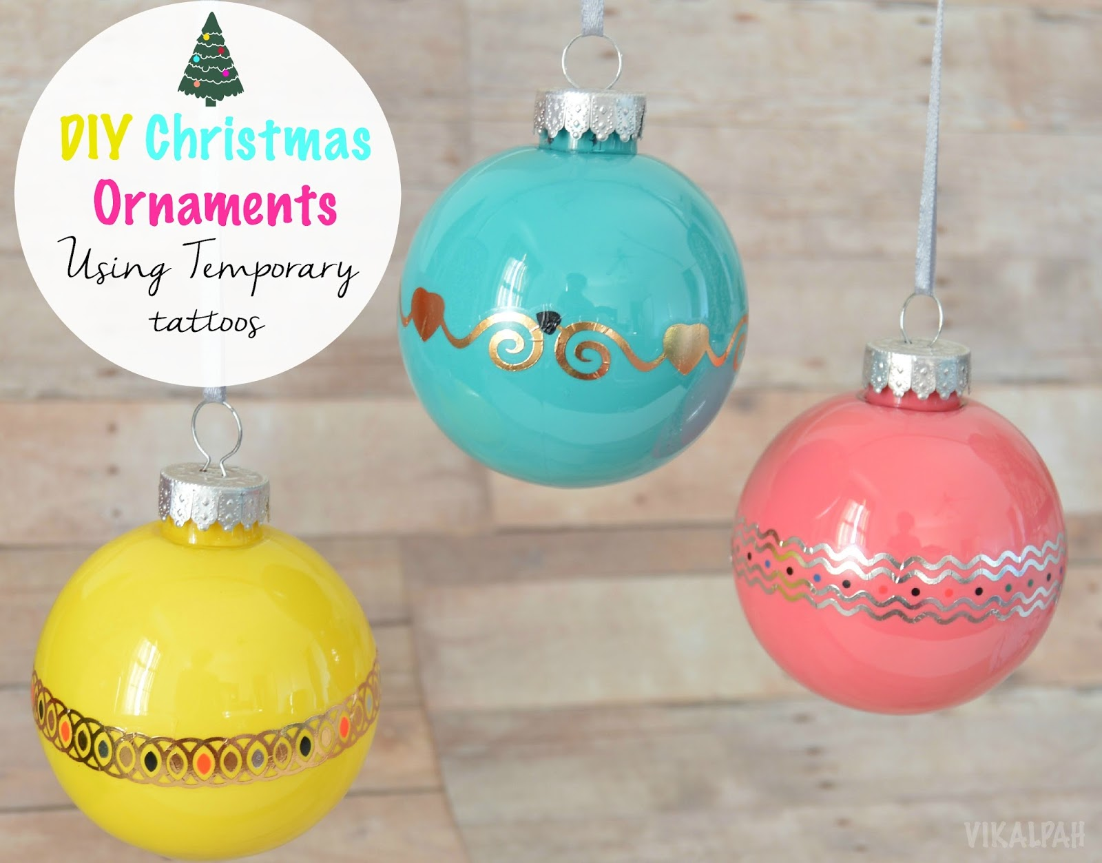 DIY Christmas Ornament using Temporary Tattoos