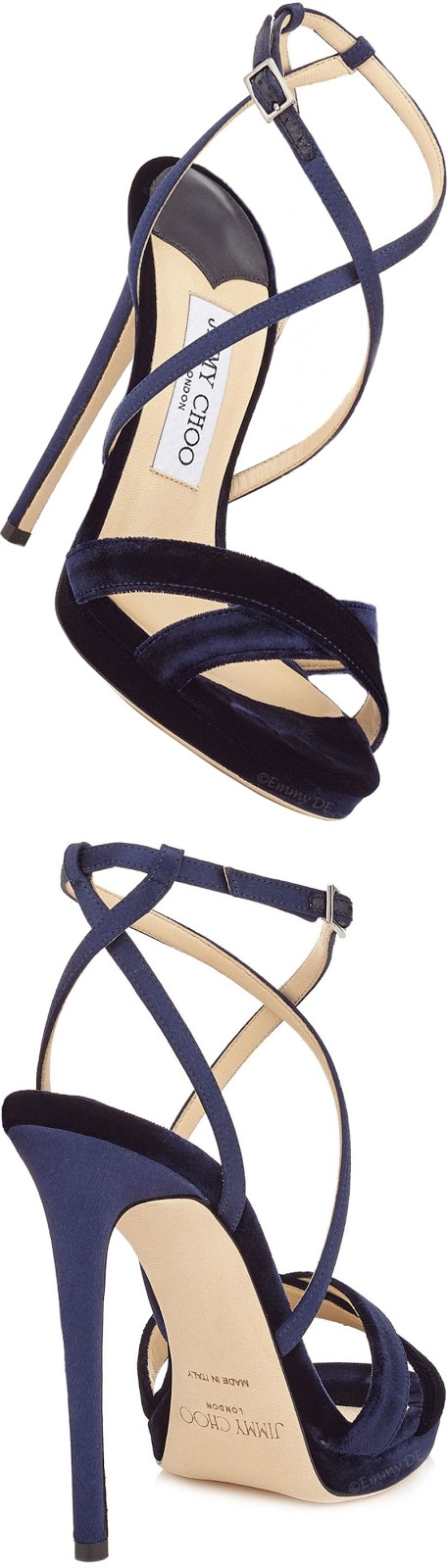 Brilliant Luxury ♦ Jimmy Choo Lola Navy Velvet Platform Sandal