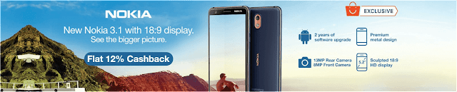 Nokia 3.1 12% cashback offer on Paytm