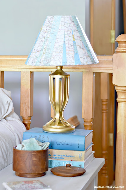 Boring to Bright: Golden Map DIY Lamp Makeover - One Mile Home Style