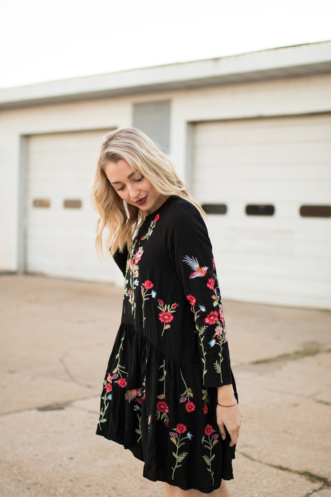 Boho floral embroidered dress