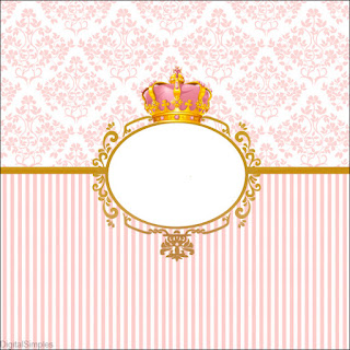 Golden Crown in Pink Free Printable Labels.