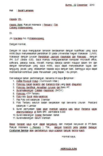Contoh Surat Lamaran Kerja Untuk Bank Berbagi Ilmu