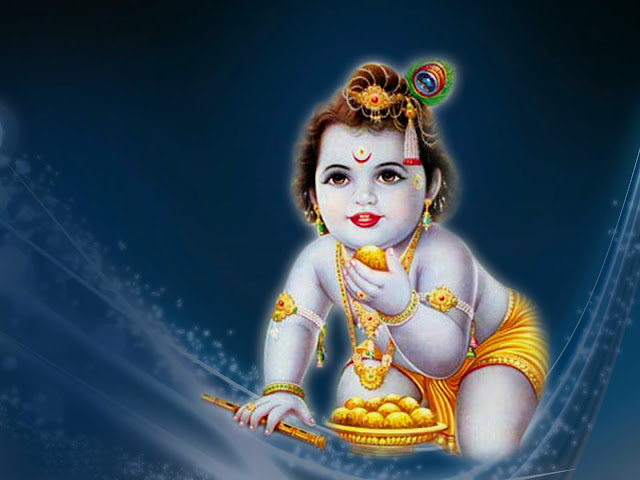 Lord Baby Krishna HD Wallpaper In Blue Background