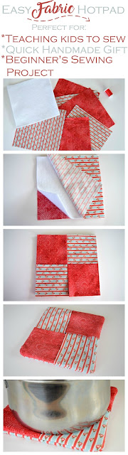 How to sew an easy fabric hot pad with step-by-step instructions. Great beginner's sewing project.