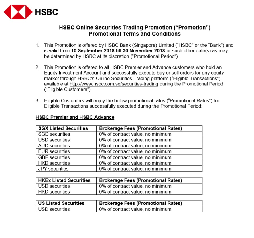 Tech | Money Mind: HSBC Singapore is offering 0$ brokerage fees for