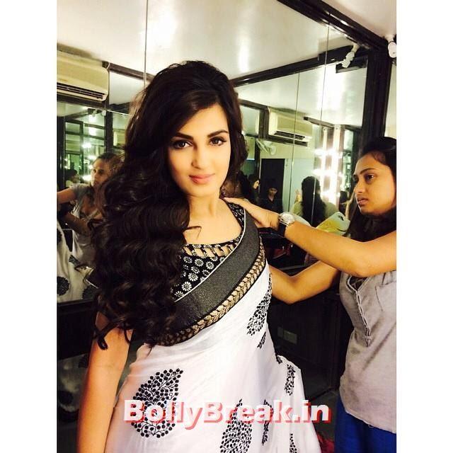 shiny Doshi hot selfie photo in white saree at wedding, Shiny Doshi Hot Pics in Saree - Latest Real Life Pics