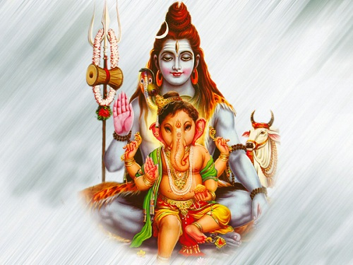 Lord Ganesha With Father Shiva