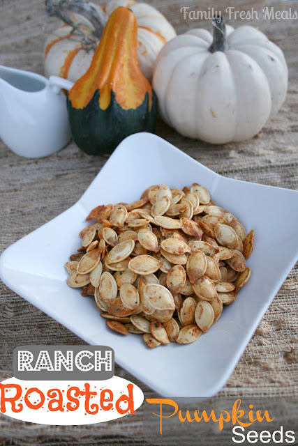 Ranch Roasted Pumpkin Seeds - Family Fresh Meals pumpkin seeds in a white bowl