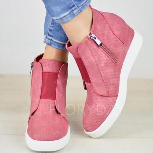 Net Surface Zipper Round Toe Flat Heel Shoes
