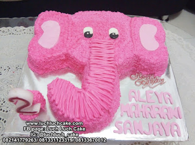 Birthday Cake 3d Kepala Gajah Pink Lucu