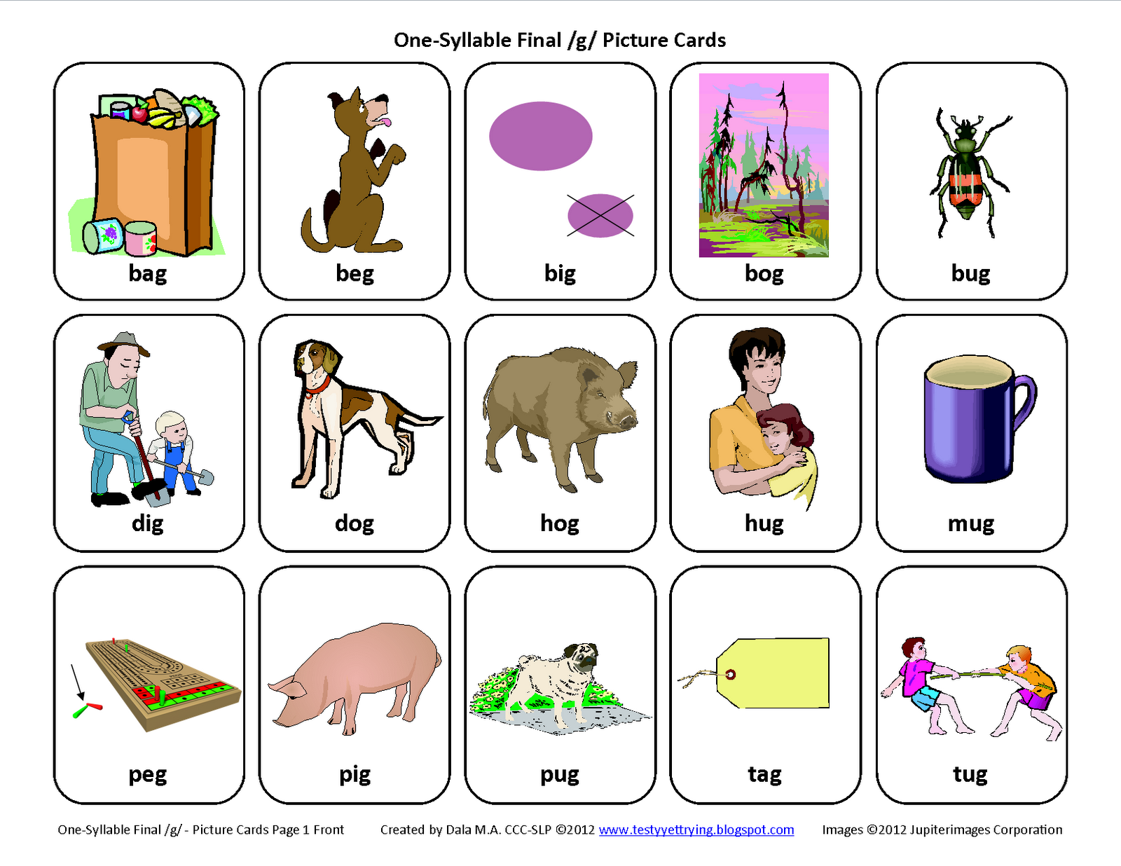 Testy Yet Trying Final G Free Speech Therapy Articulation Picture Cards