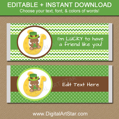 Cute St Patricks Day Party Favors for Kids - Large Candy Wrapper Template with Puppy Dog