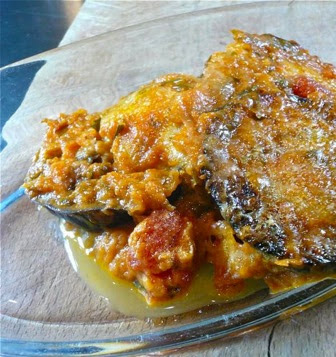 Eggplants with parmesan cheese, Mediterranean Diet, Sicilian recipe,