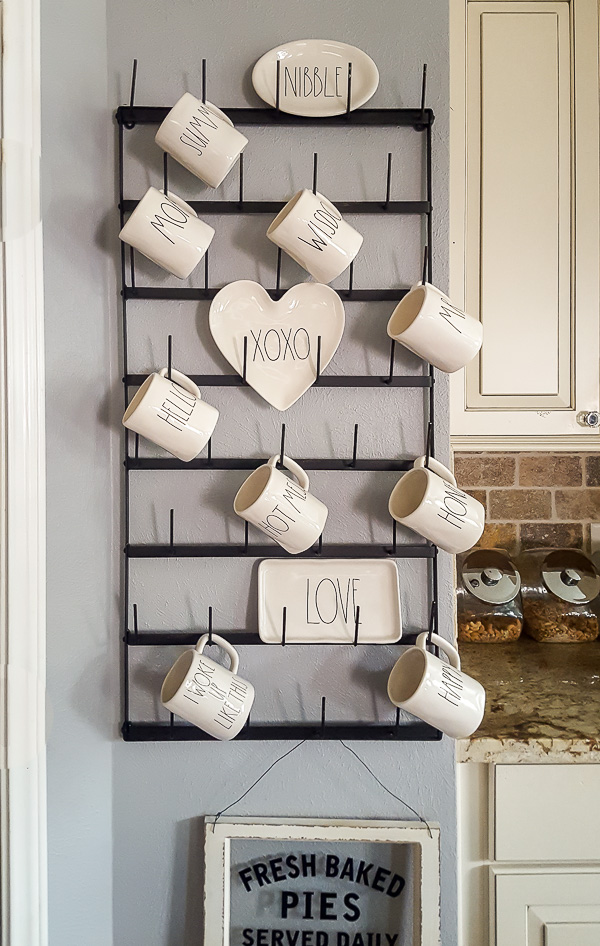 Rae Dunn display in an upcycled farmhouse kitchen
