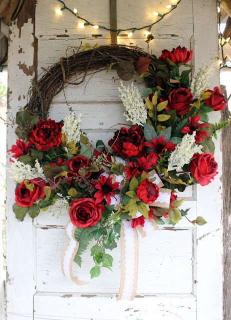 rustic elegance wreath with red roses, peonies, and heather