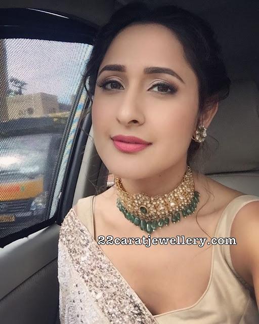 Pragya Jaiswal Kundan Choker with Emerald Drops