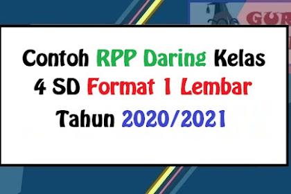 Contoh RPP Daring Kelas 4 SD Tahun Pelajaran 2020/2021