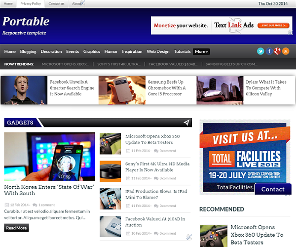 Portable - SEO Responsive Blogger Template