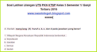 download Soal Ulangan UTS PKN KTSP Kelas 5 Semester 1 Ganjil Terbaru 2016 2017