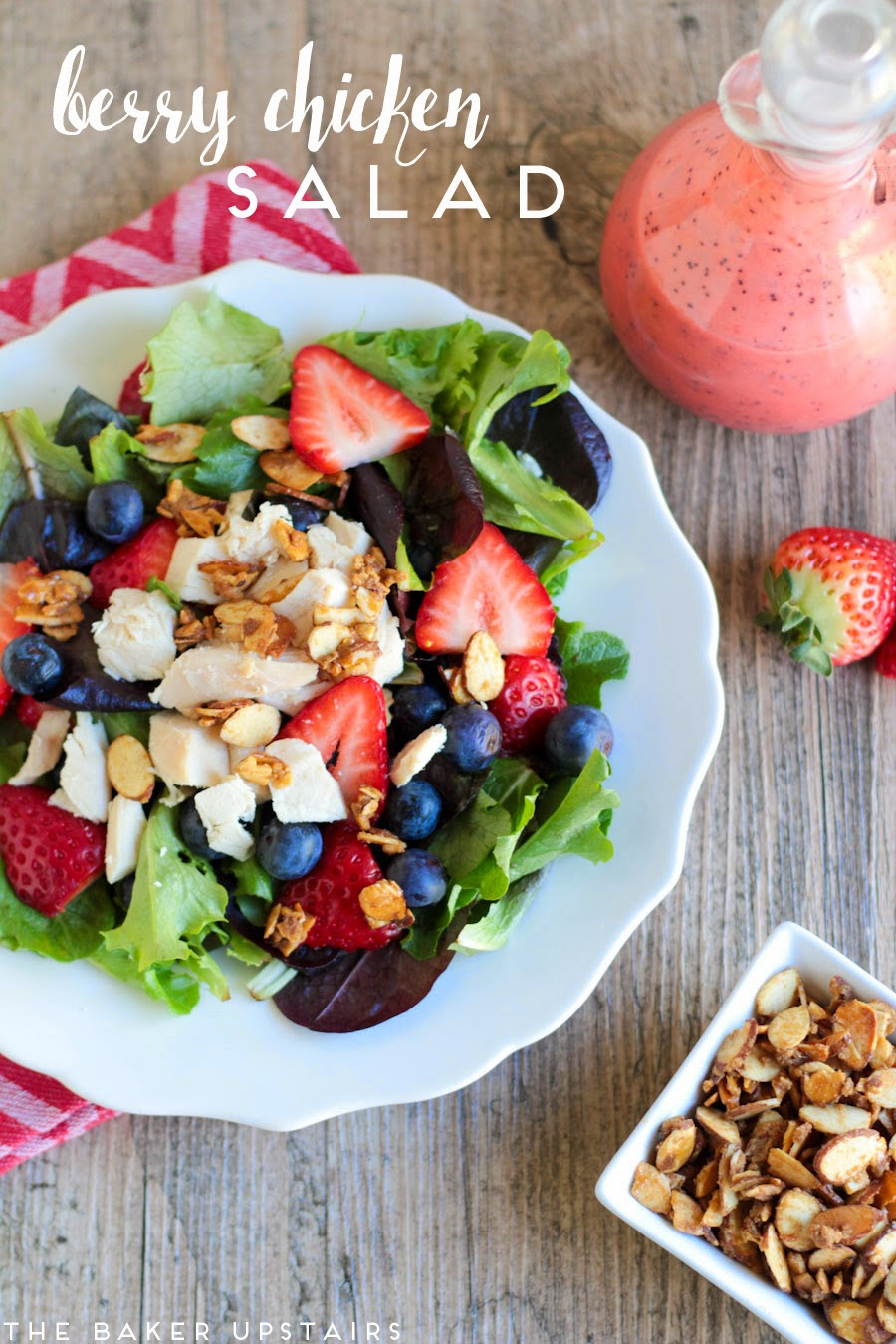 Berry chicken salad and easy candied almonds - so fresh, healthy, and delicious!