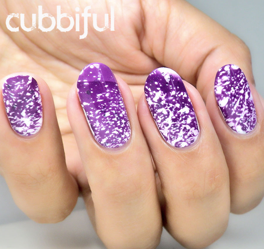 purple water spotted nails