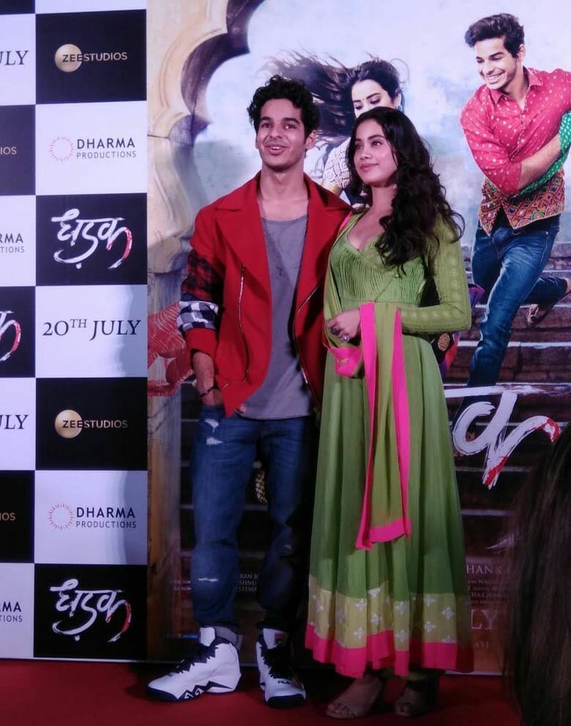 Ishaan Khatter and Janhvi Kapoor during trailer launch