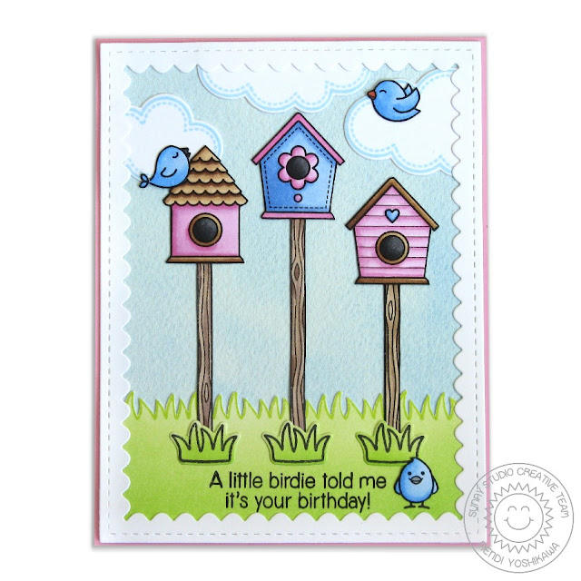 Sunny Studio Stamps A Bird's Life Birdhouse Trio Birthday Card by Mendi Yoshikawa