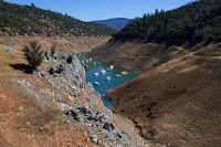 Drought has brought the water level at Lake Oroville in California close to a record low. (Credit: Ruth Fremson/The New York Times) Click to Enlarge.