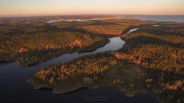 Карелия. Золотая осень. Фото с квадрокоптера