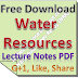 Water Resources Engg Lecture Notes PDF Download
